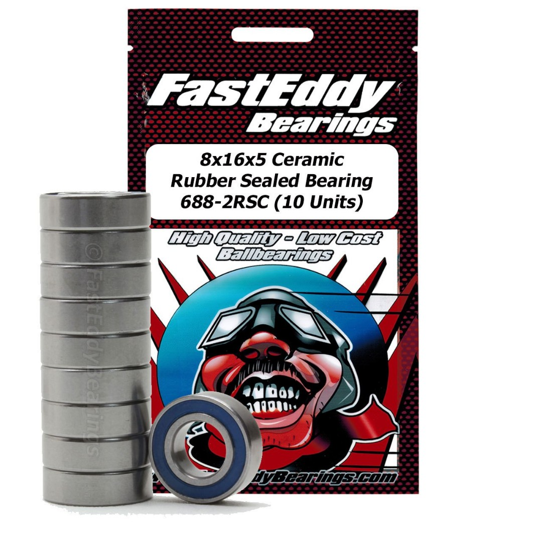 Fast Eddy 8x16x5 Ceramic Rubber Sealed Bearing 688-2RSC (10)