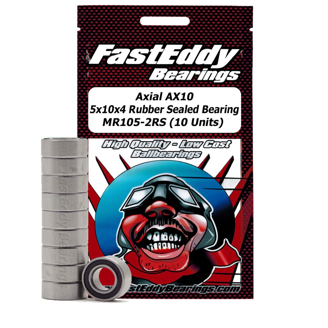 Fast Eddy Axial AX10 5x10x4 Rubber Sealed Bearing MR105-2RS (10
