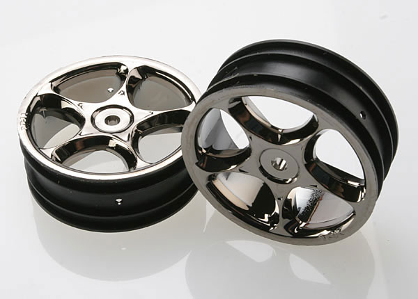 "Traxxas 2.2"" Bandit Front Tracer Buggy Wheels (2) (Black Chrome)"
