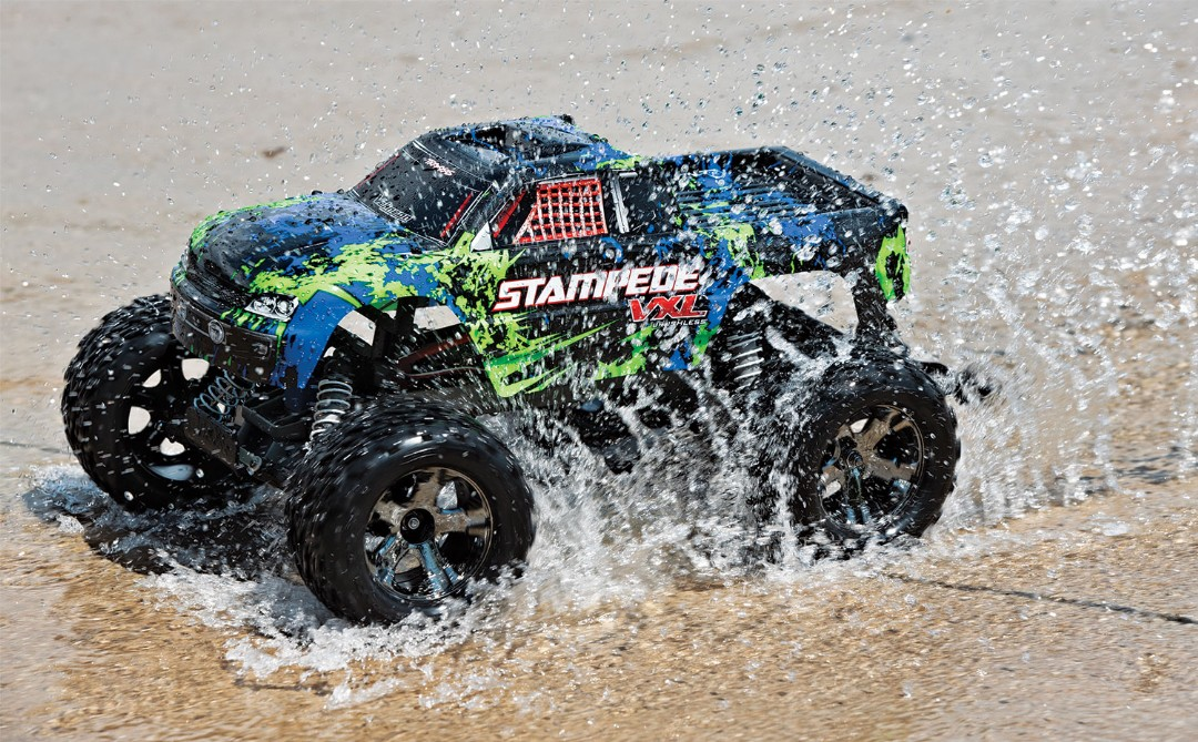 Traxxas Stampede VXL 1/10 RTR 2WD Monster Truck - Green - Click Image to Close