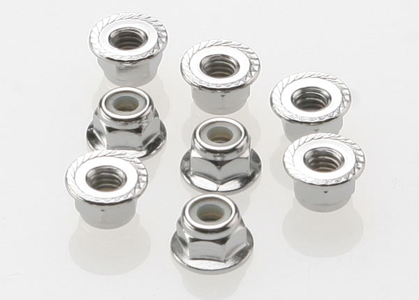 Traxxas 4mm Steel Flanged Serrated Nylon Locknut (8)