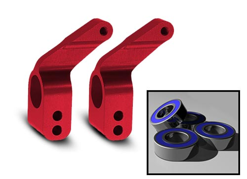 Traxxas Aluminum Stub Axle Carriers (Red) (4)