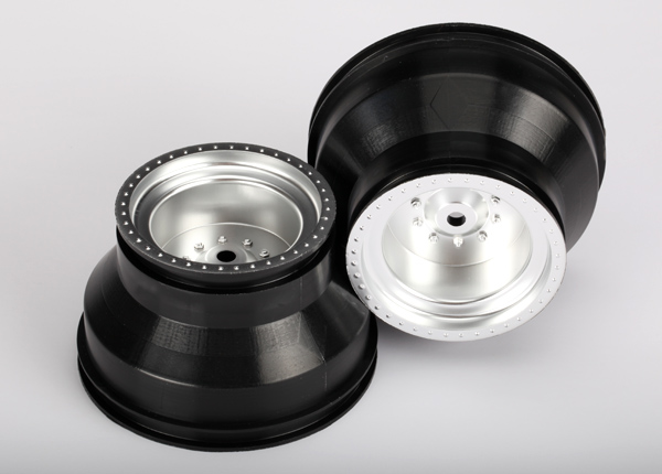 Traxxas Wheels, Satin Chrome, Dual Profile (2.0' Outer, 3.0' Inn