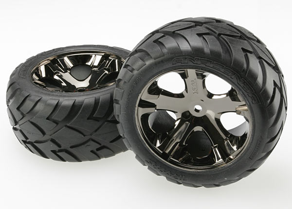Traxxas Anaconda Rear Tires w/All-Star Wheels (2) (Black Chrome)