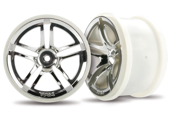 Traxxas Wheels, Twin-Spoke 2.8' (Chrome) (Electric Rear) (2)