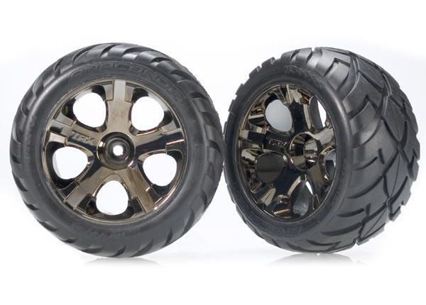 Traxxas Anaconda Tires w/All-Star Front Wheels (2) (Black Chrome