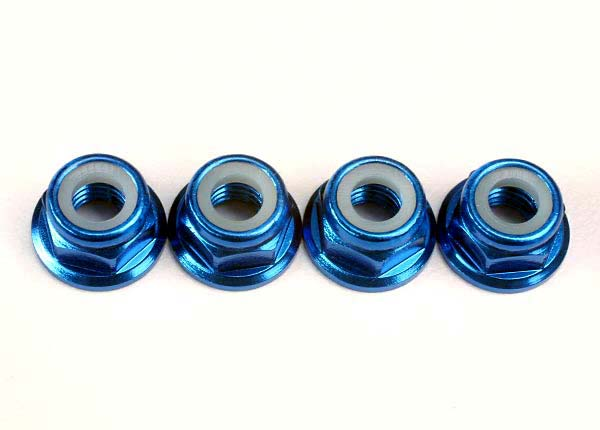 Traxxas Nuts, 5mm flanged nylon locking (aluminum, blue-anodized