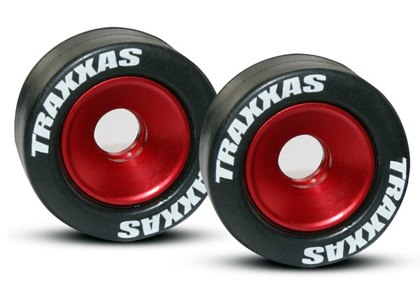 Traxxas Wheels, aluminum (red-anodized) (2)/ 5x8mm ball bearings