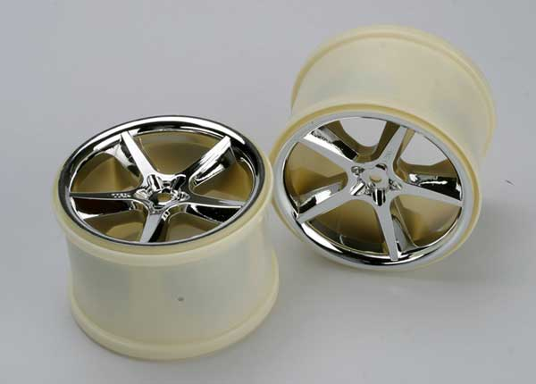 Traxxas Wheels, Gemini 3.8' (Chrome) (2) (Also Fits Maxx Series)