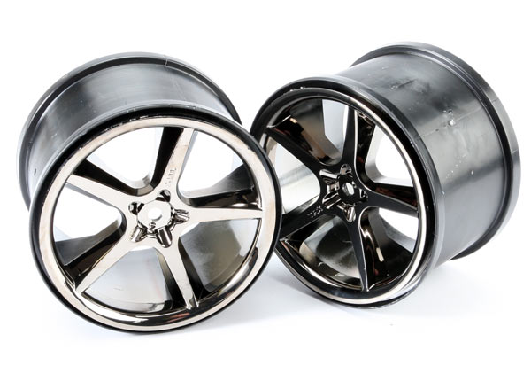 Traxxas Wheels, Gemini 3.8' (Black Chrome) (2)