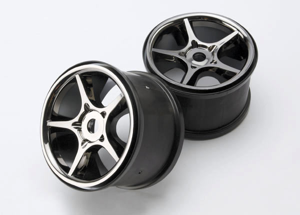 Traxxas Wheels, Gemini 3.8' (Black Chrome) (2) (Use With 17mm Sp
