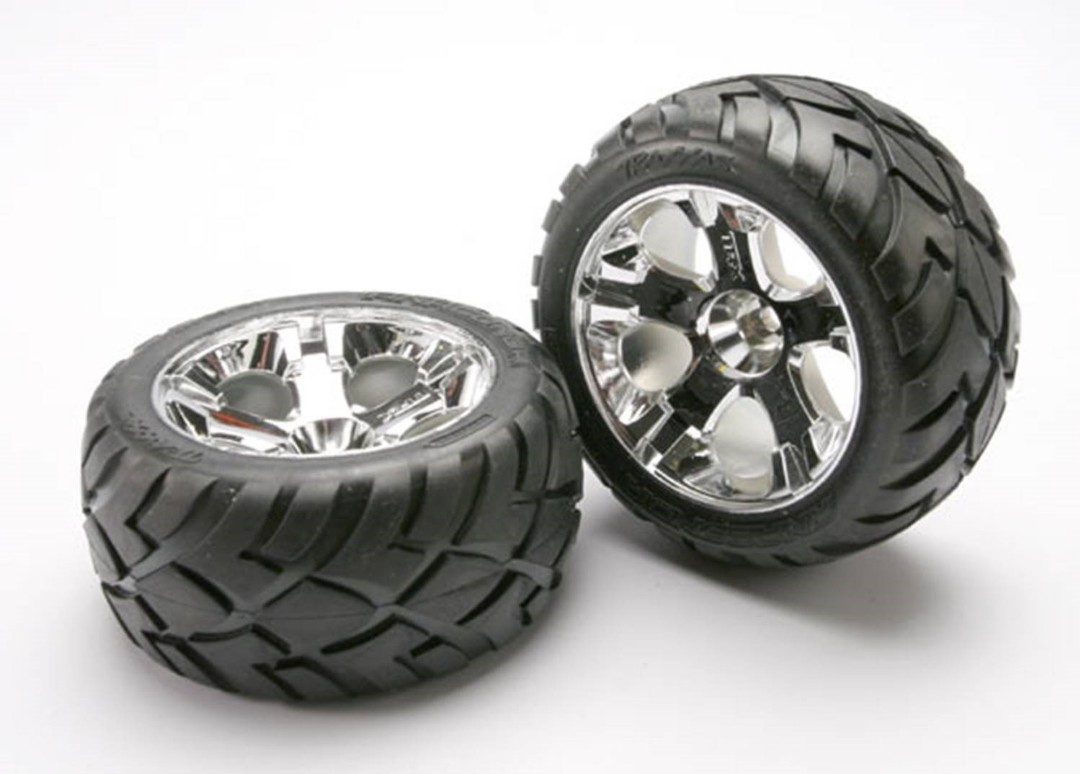 Traxxas Anaconda Tires w/All-Star Front Wheels (2) (Jato) (Chrom