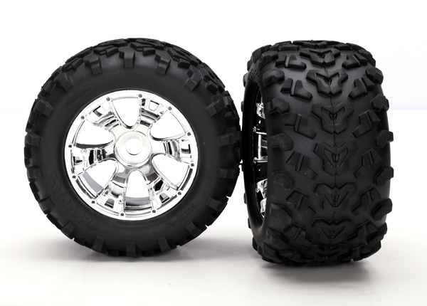 Traxxas Maxx Pre-Mounted Tires w/17mm Geode Wheels (2) (Chrome)