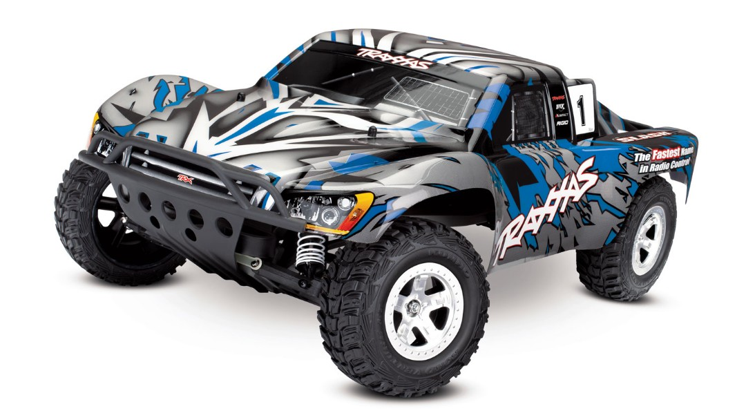 Traxxas Slash 2WD 1/10 Blue, Brushed, No Battery/Charger - Click Image to Close