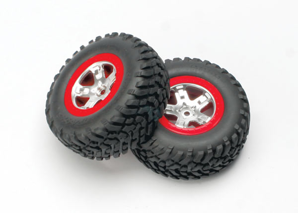 Traxxas Tires & wheels, assembled, glued (SCT satin chrome, red-
