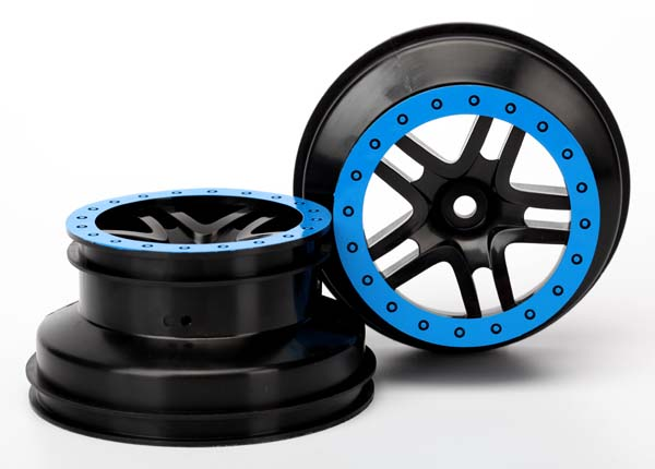 Traxxas Wheels, Sct Split-Spoke, Black, Blue Beadlock Style, Dua