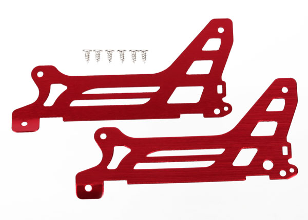 Traxxas Main Frame, Side Plate, Outer (2) (Red-Anodized) (Alumin