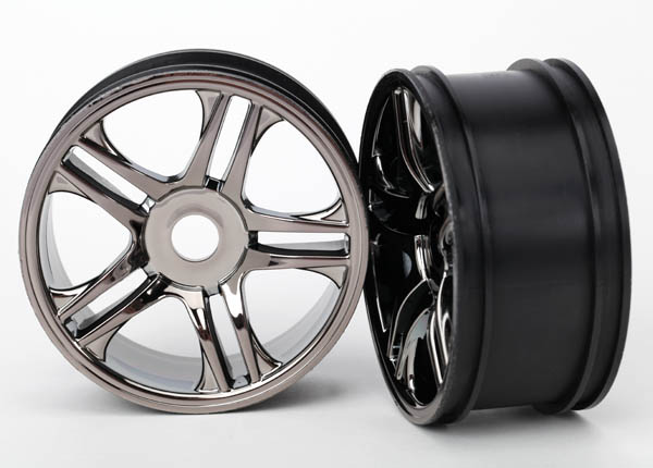Traxxas Wheels, Split-Spoke (Black Chrome) (Rear) (2)