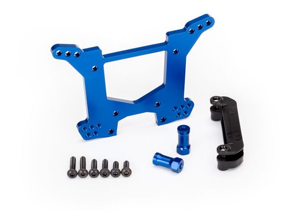 Traxxas Shock tower, rear - blue aluminum
