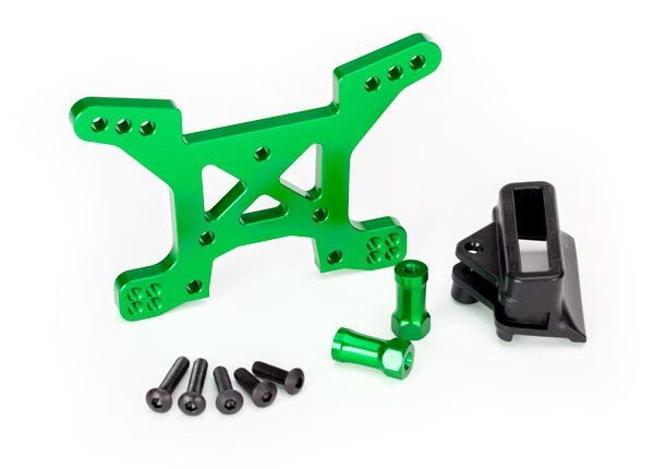Traxxas Shock tower, front - green aluminum