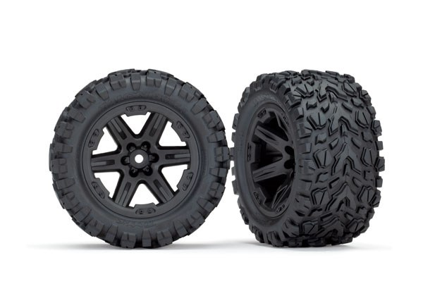 Traxxas Tires & wheels, assembled, glued (2.8') (Rustler 4X4 bl