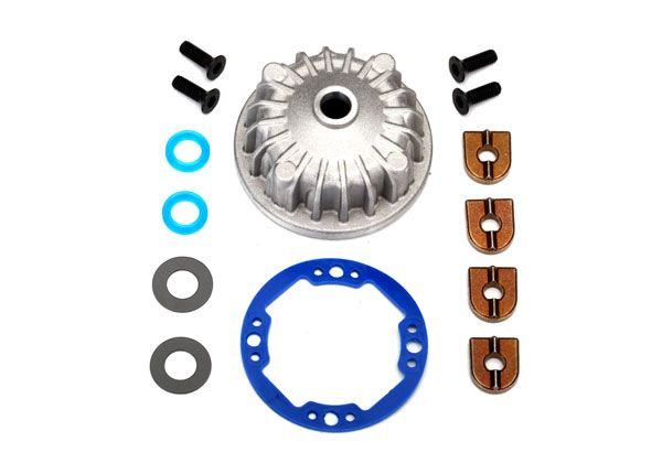 Traxxas Housing, center differential (aluminum)/ x-ring gaskets