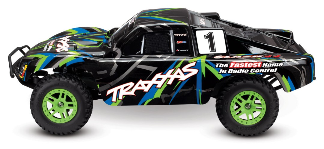 Traxxas Slash 4X4 1/10 4WD XL-5 RTR Short Course Truck Green - Click Image to Close