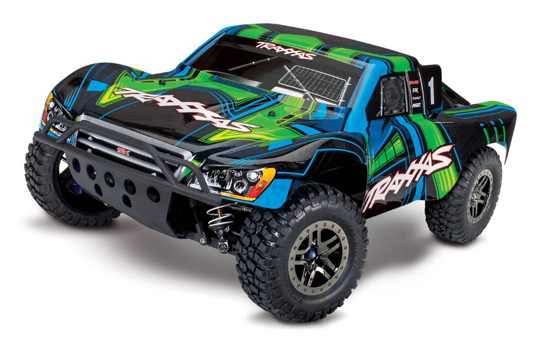Traxxas Slash 4X4 Ultimate Short Course Truck Green - Click Image to Close