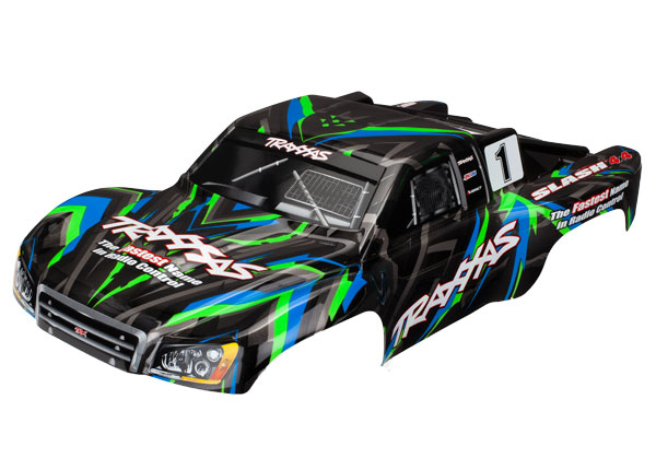 Traxxas Body, Slash 4X4, green (painted, decals applied)