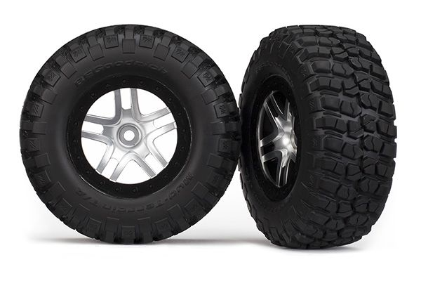 Traxxas Tires & wheels, assembled, glued (SCT Split-Spoke satin