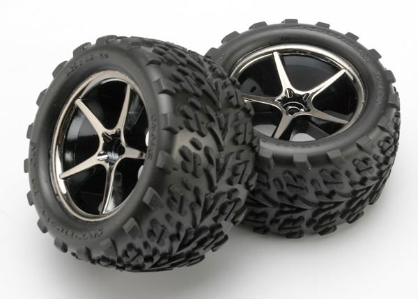 Traxxas Pre-Mounted Talon Tires w/Gemini Wheels (Black Chrome) (
