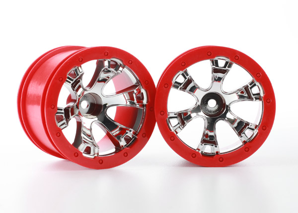 Traxxas Wheels, Geode 2.2' (chrome, red beadlock style) (12mm he