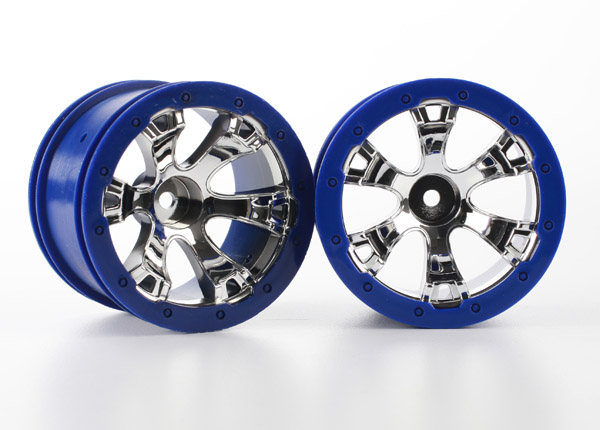 Traxxas Wheels, Geode 2.2' (Chrome, Blue Beadlock Style) (12mm H
