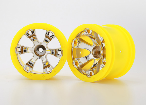 Traxxas Wheels, Geode 2.2' (chrome, yellow beadlock style) (12mm