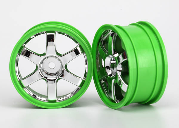 Traxxas Wheels, Volk Racing TE37 (Chrome/Green) (2)