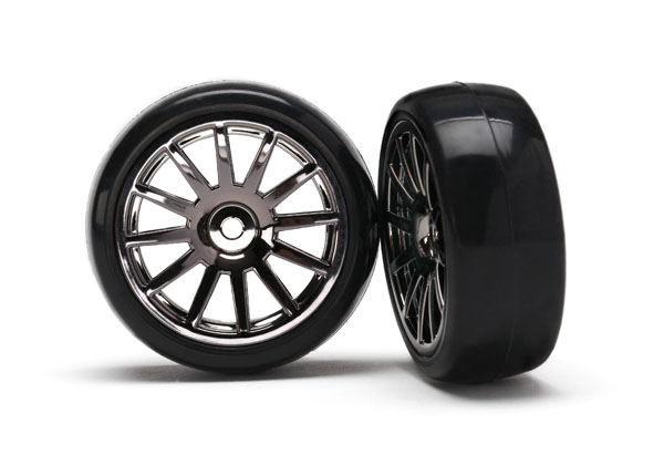 Traxxas LaTrax Pre-Mounted Slick Tires & 12-Spoke Wheels (Black