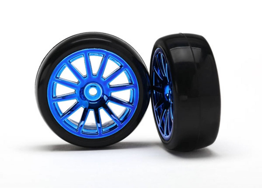 Traxxas Tires & wheels, assembled, glued (12-spoke blue)