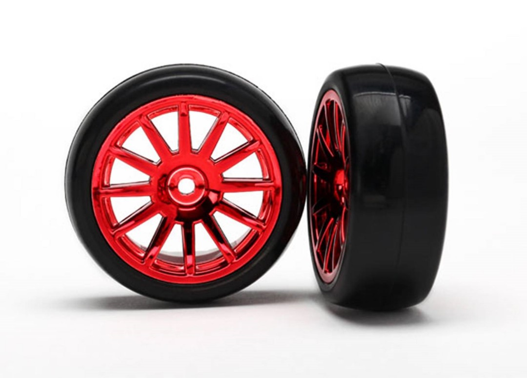 Traxxas Tires & wheels, assembled, glued (12-spoke red)