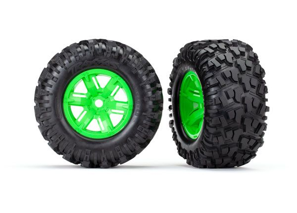 Traxxas X-Maxx green wheels, Maxx AT tires, glued (2)