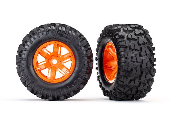 Traxxas X-Maxx orange wheels, Maxx AT tires, glued (2)