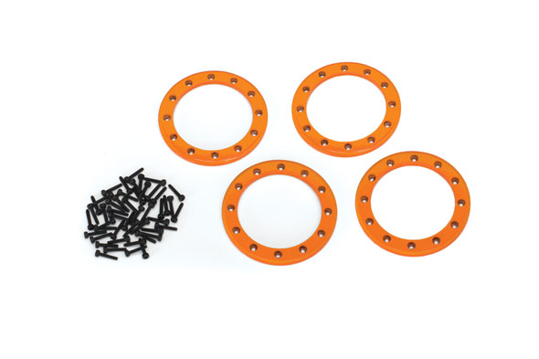 Traxxas Beadlock rings, orange (2.2') (aluminum) (4)/ 2x10 CS (4