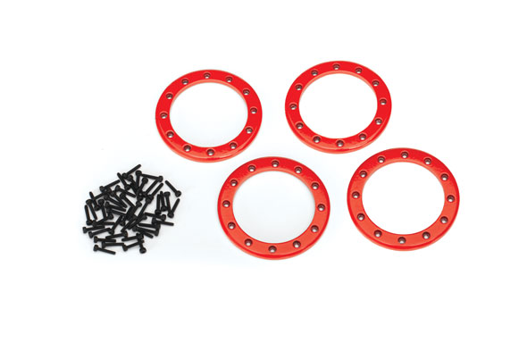 Traxxas Beadlock rings, red (2.2') (aluminum) (4)/ 2x10 CS (48)