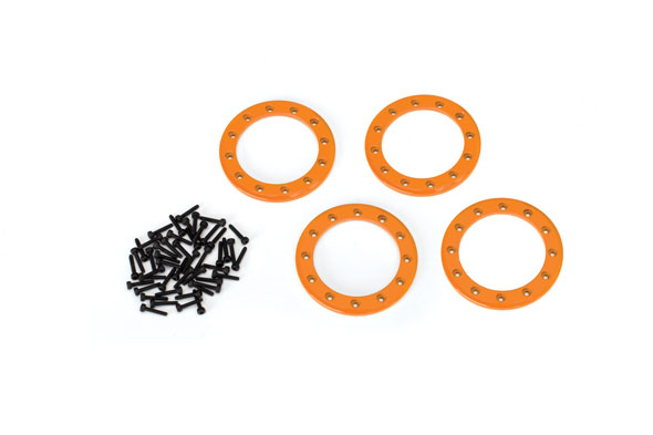 Traxxas Beadlock rings, orange (1.9') (aluminum) (4)/ 2x10 CS (4