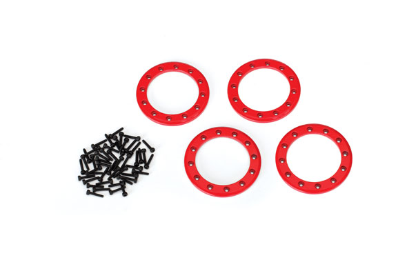 Traxxas Beadlock rings, Red (1.9') (aluminum) (4)/ 2x10 CS (48)