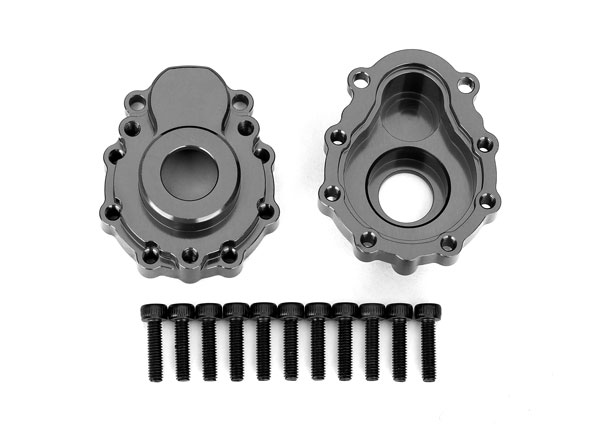 Traxxas Portal housings, outer, 6061-T6 aluminum (charcoal gray