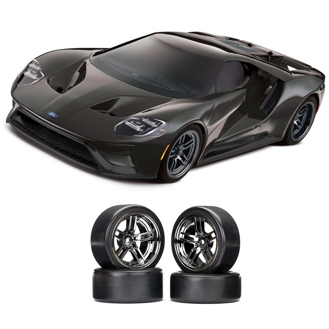 Traxxas Ford GT 1/10 Scale Black Supercar Chrome Drift Bundle