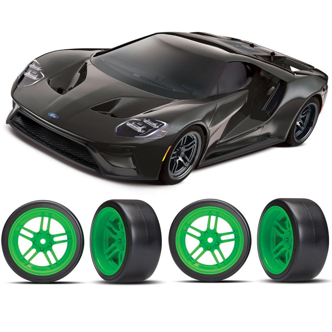 Traxxas Ford GT 1/10 Scale Black Supercar Green Drift Bundle