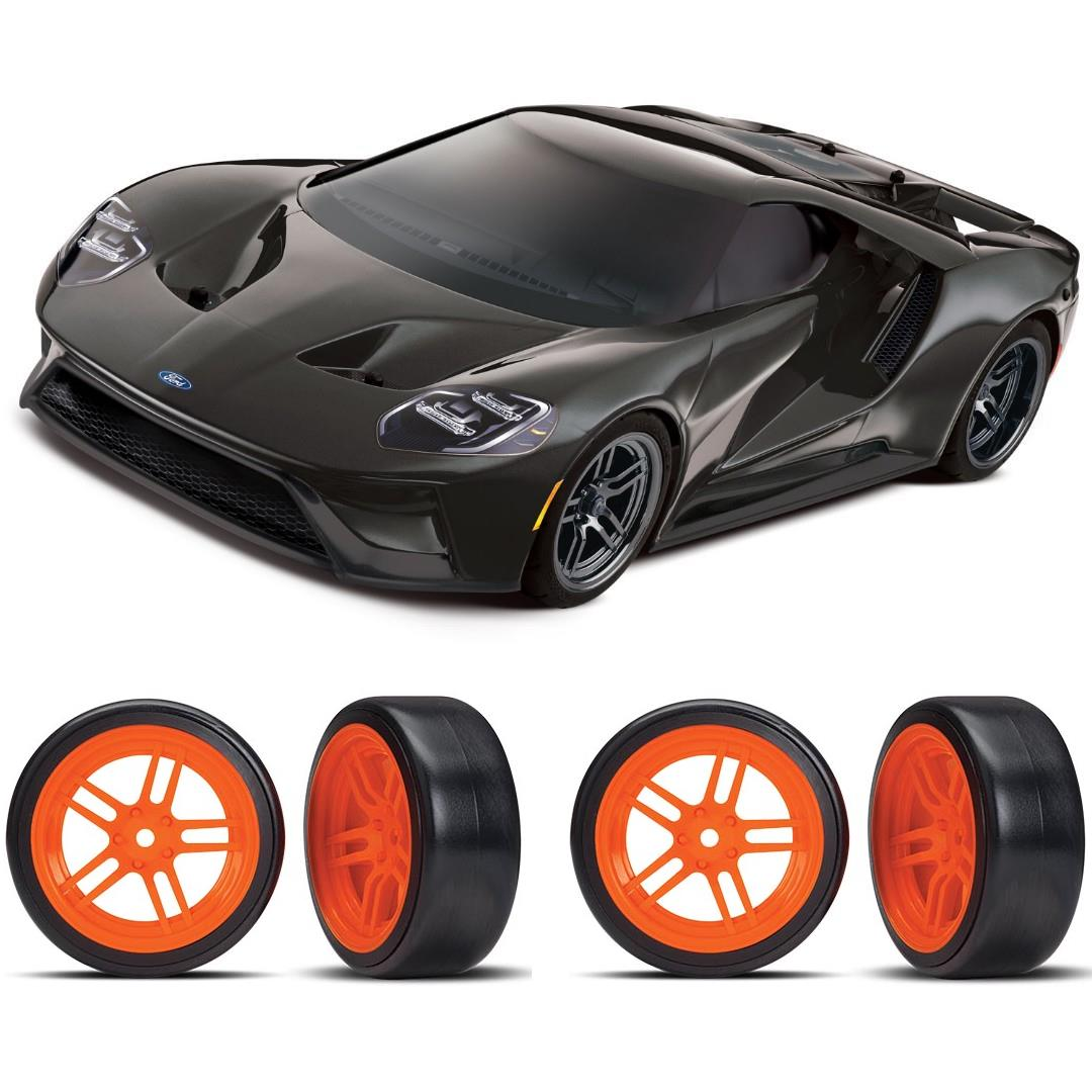 Traxxas Ford GT 1/10 Scale Black Supercar Orange Drift Bundle
