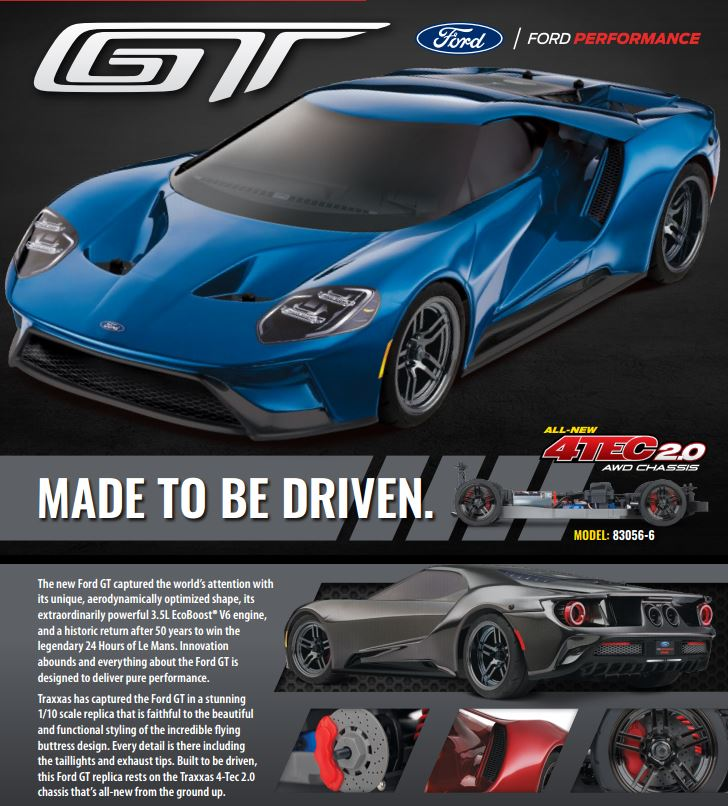 Traxxas Ford GT 1/10 Scale AWD Black Supercar