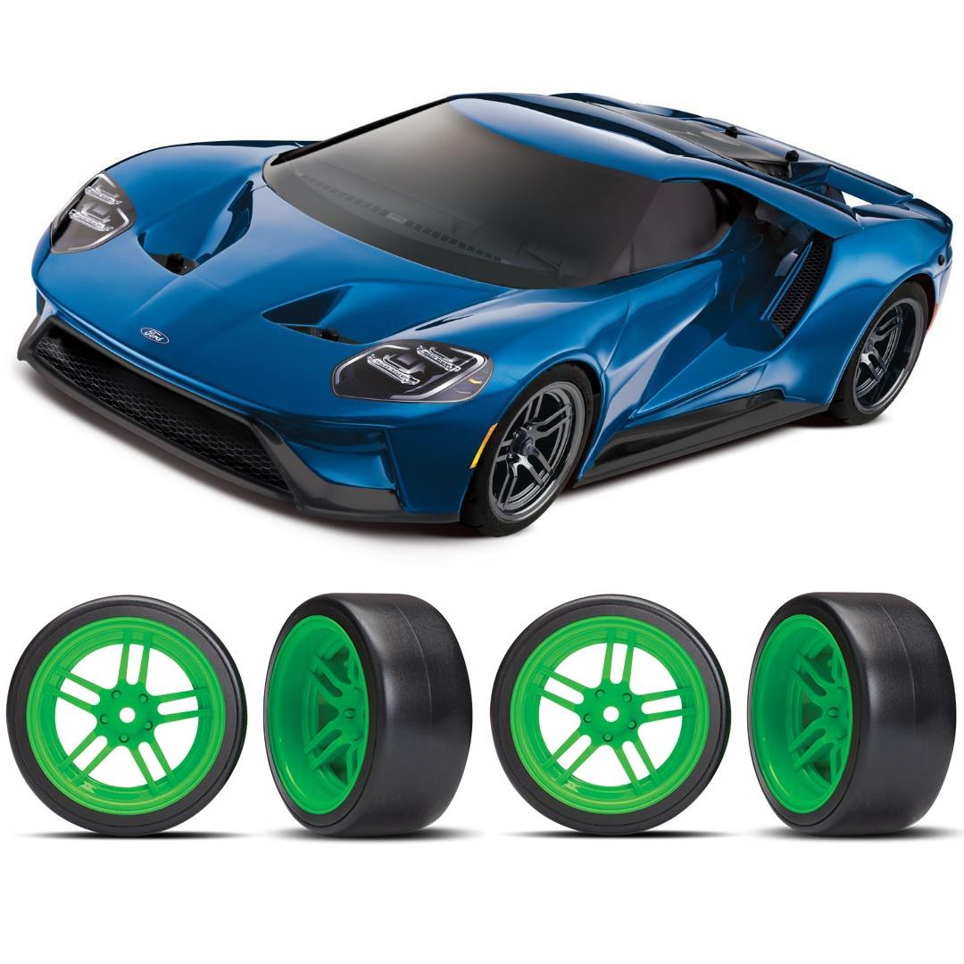 Traxxas Ford GT 1/10 Scale Blue Supercar Green Drift Bundle